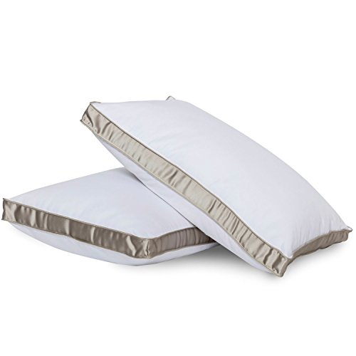 Bed Pillow for Sleeping - Down Alternative Medium Firm Side Sleeper Pillow, Standard Size (1 Per Pack) Gusseted Pillow by Gavotte Home