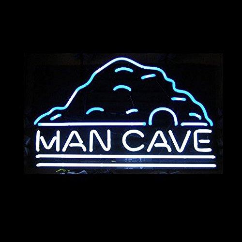Man CAVE Panneau lumineux néon en verre véritable pour maison, bar, pub, salle de jeux, fenêtres, garage, magasin (43 x 35,6 cm)