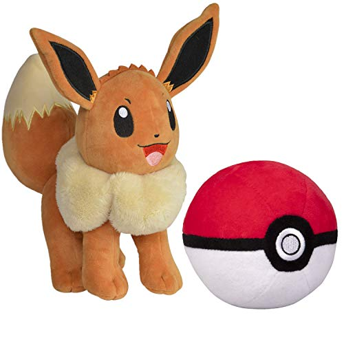 Pokemon Pokeball and 8' Eevee Plush Stuffed Animal Toy - Set of 2