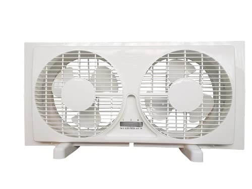 9-inch Twin Window Fan with Manual Reversible Airflow Control, Auto-Locking Expanders, and 2-Speed Fan Switch (Min. 22.4' Max. 34.3') Expanders and Leg Stands Included