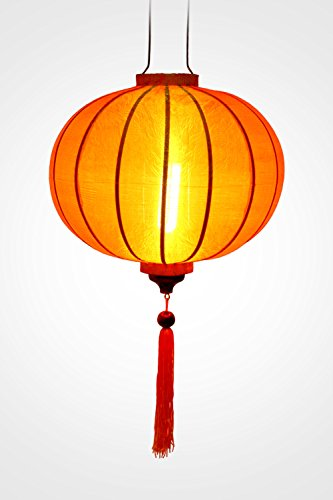 Asiatische Lampion aus Seide, Orange R, Ø 33 cm, Vietnam-Handwerkskunst R20-O)