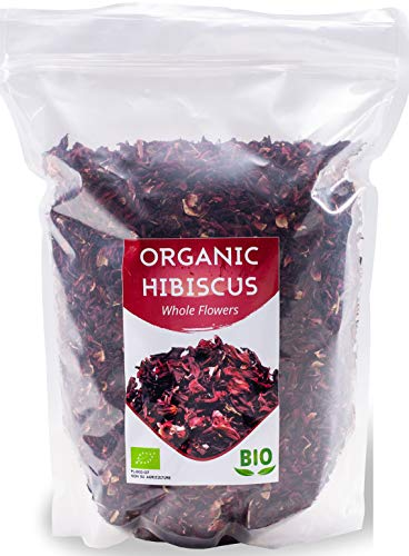Fiori di Ibisco Biologici HerbaNordPol | Egiziano | Qualità Premium | 1Kg BIO Hibiscus | Petali Grandi Tè Sfuso