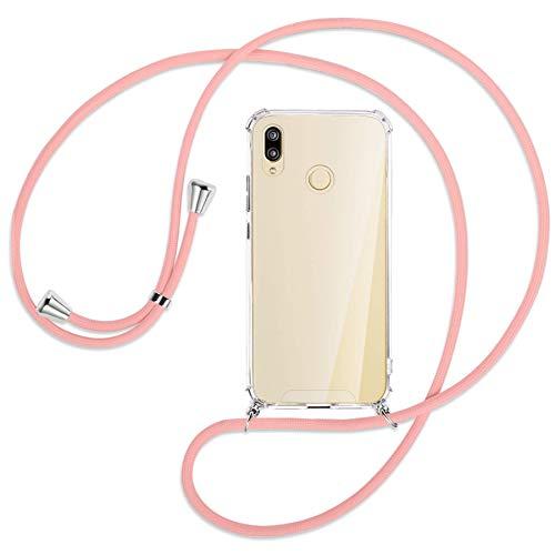 mtb more energy® Handykette kompatibel mit Huawei P20 Lite (5.84'') - rosa - Smartphone Hülle zum Umhängen - Anti Shock Strong TPU Hülle