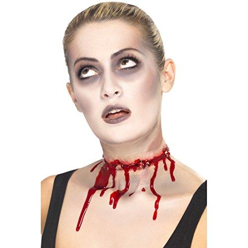 Amakando Halloween Kunstwunde Stacheldraht Latex Wunden aufgeschlitzter Hals Schminke Schnittwunde Zombie Risswunde Klaffende Halswunde