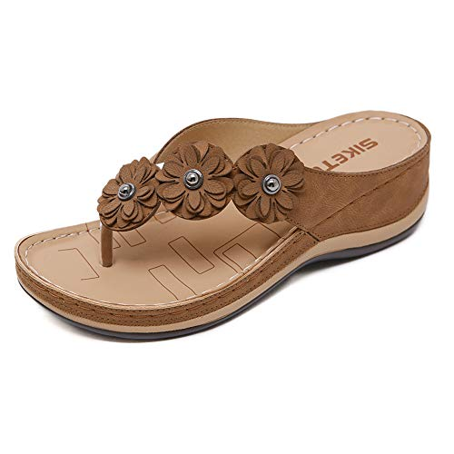 LTLGHY Orthotic Flip Flops Thongs Women's Arch Support Sandals for Plantar Fasciitis & Flat Feet Orthopedic Slippers Shoes,Brown,37