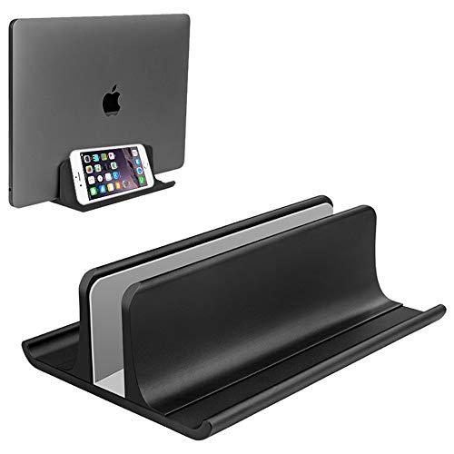 Vertikaler Laptopständerhalter Einstellbare Desktop Notebook Dock Platzsparend Drei-in-Eins für alle MacBook Pro Air, Mac, HP, Dell, Microsoft Surface und Lenovo Modelle bis zu 17.3 Zoll Schwarz