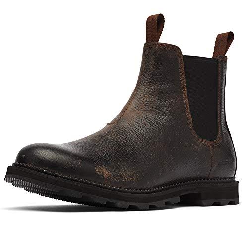 Sorel Men's Madson Chelsea Waterproof Boots, Tobacco/Black, 12 Medium US