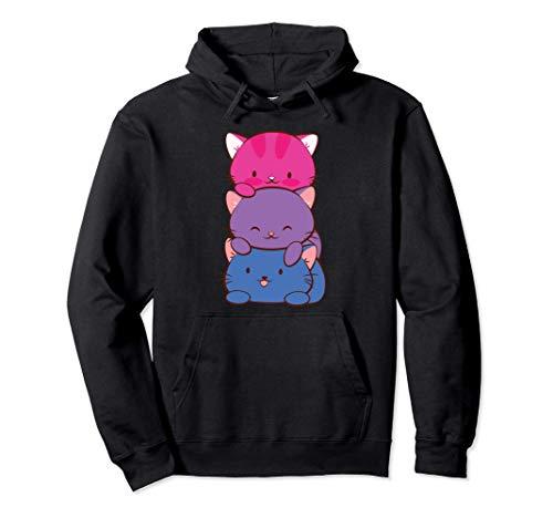 Bisexueller Stolz Kawaii Kitty Katze Stapel Anime Pullover Hoodie