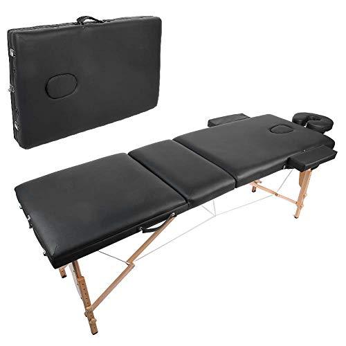 Lettino Massaggio pieghevole a 3 sezioni, lettino da massaggio portatile con struttura in legno regolabile in altezza con poggiatesta a forma di U e custodia, per salone di bellezza per tatuaggi