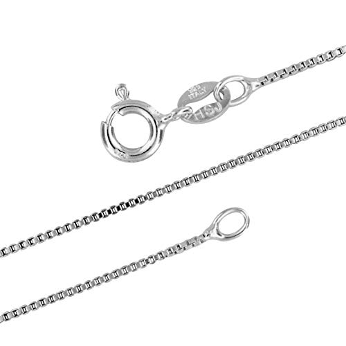 Sterling Silver 1mm Box Chain Necklace Solid Italian Nickel-Free, 18 Inch
