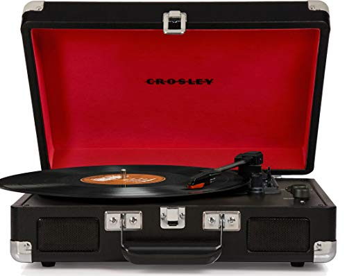 Crosley CR8005D-BK Cruiser Deluxe Vintage 3-Speed Bluetooth Suitcase Turntable, Black