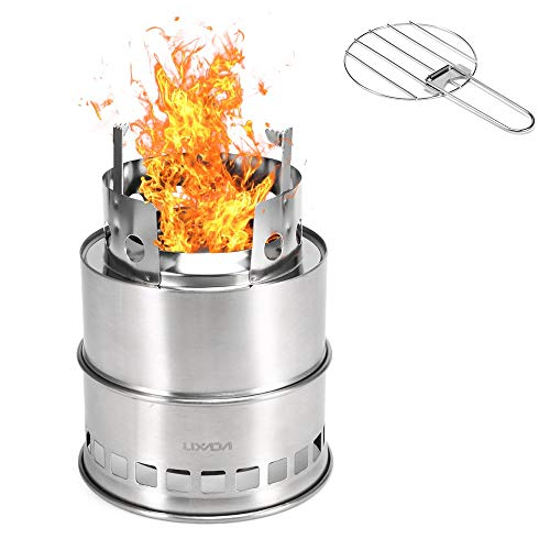Lixada Hornillos Portátiles Estufa Plegable para Acampar Cocina al Aire Libre Estufa de Leña con Bandeja de Alcohol Senderismo Mochilero Picnic