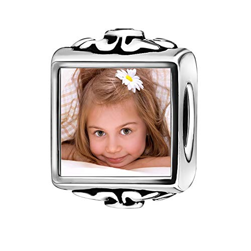 S925 Sterling Silver Cube Personalize Photo Charm Crystal Dangle Charm Pendant European Beads Charm Fit Pandora Troll Chamilia Biagi for Birthday Mother's Day Wedding Gift