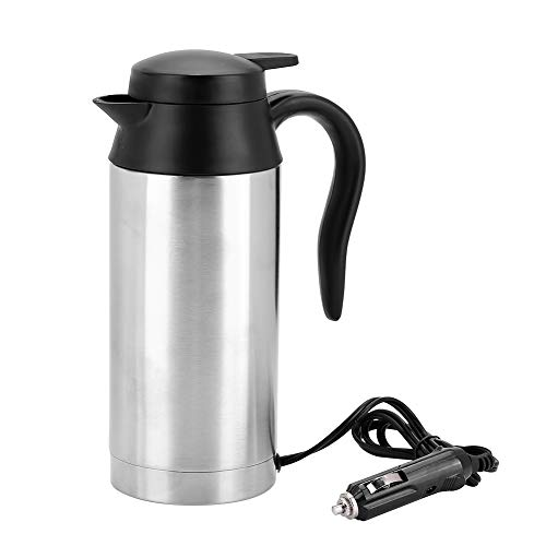 Travel Car Kettle, 750ml 24V Portable Travel Car Truck Hervidor de agua electrico Calentador de agua Botella de ebullicion rapida con enchufe para encendedor de cigarrillos