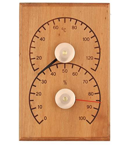 Weigand Klimamesser SCHLICHT I Thermometer und Hygrometer Kombination aus wärmebehandelter ERLE I Messinstrument I Sauna I Zubehör I Saunazubehör I Schlicht Erle