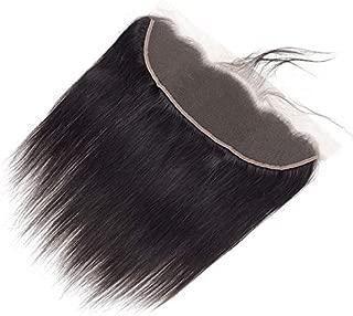 Straight Virgin Natural Human Hair Lace Frontal Closure 13X4 Ear to Ear (12 inch, Natural Black)