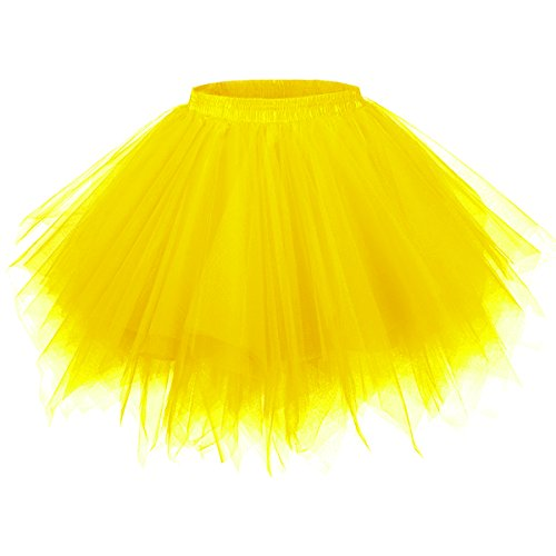 GirstunmBrand Damen 50er Vintage Tüllrock Petticoat Mehrfarbig Bubble Tanzkleid Rock Gold-S/M