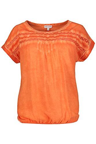 GINA LAURA Damen Bluse, Spitzenstreifen, Oversized, Biesen, Gummisaum Aprikose M 724970 65-M