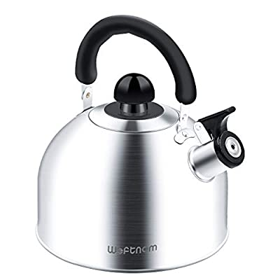 Tea Kettle Stovetop Whistling Tea Pot with iCool - Handle, Stainless Steel Teapot for Stove Top, 2.2 Liter Large Capacity with Capsule Base