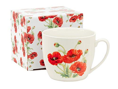 Duo Jumbo-Tasse XXL Kaffee-Becher Kaffeetasse Porzellan Teetasse Geschenk-Tasse Trinkbecher Mug 750 ml Geschenkbox (Mohnblume)