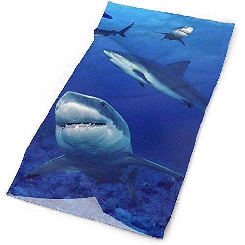 Shark Zwem Blauwe Oceaan Hoofdband Sport Sjaal, Gezicht Zon Masker, Neck Gaiter, Balaclava Hoofddeksel, Bandana, Hoofdband 19.7x9.85inch