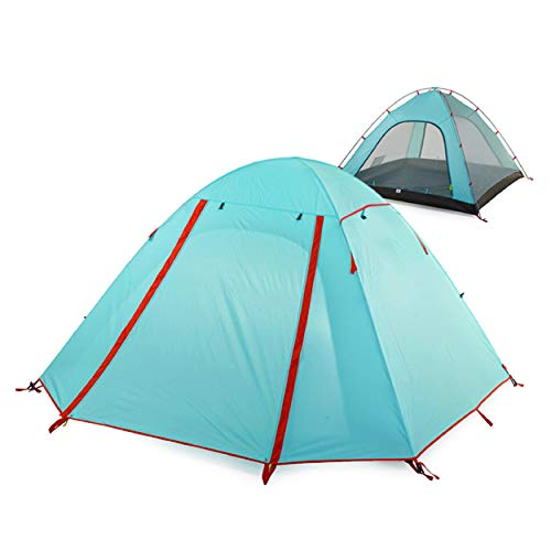 Azarxis 1 2 3 Man Person Dome Tent 3 4 Season Double Skin Easy Set Up Lightweight Waterproof Windproof Ultralight for Backpacking Camping Hiking Festival Outdoor (Light Blue - 2 person)