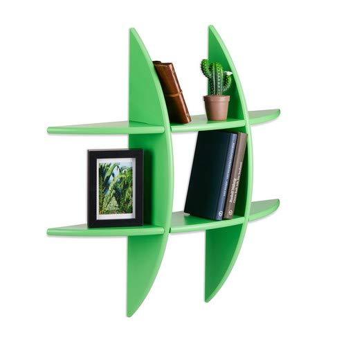Relaxdays Ronde wandrek met 6 vakken, 17cm diep, hangrek, decoratie, CD-rek, zwevende plank, groen