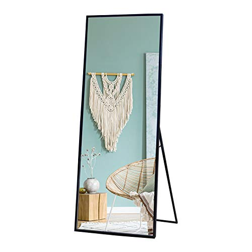 """LAKUKU Full Length Mirror, 65""""x22"""" Body Mirror with Stands, Large Rectangular Metal Frame Wall Mounted Mirror for Living/Bedroom Room/Entry (Black)"""
