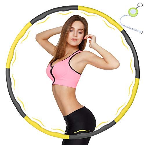 Fitness Hula Hoop zur Gewichtsreduktion,Reifen mit Schaumstoff Gewichten Einstellbar Breit 48–88 cm beschwerter Hula-Hoop-Reifen für Fitness (4 Knoten Gelb + Grau) mit Mini Bandmaß (Gelb)