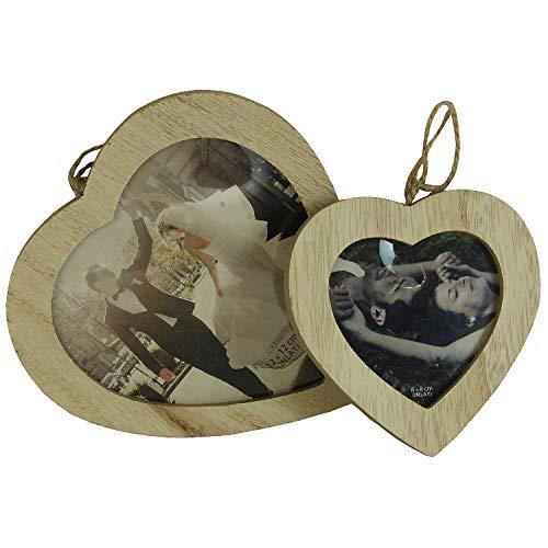 MACOSA NO69233 2er Set Bilderrahmen Holz Herz | Fotorahmen mit Kordel | Deko-Rahmen zum Aufhängen | Portraitrahmen | Holzrahmen Foto Aufhänger