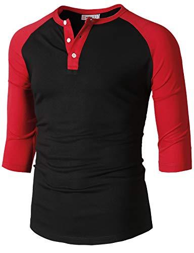 H2H Mens Casual Slim Fit Raglan Baseball Three-Quarter Sleeve Henley T-Shirts BlackRed US XL/Asia 2XL (CMTTS0229)