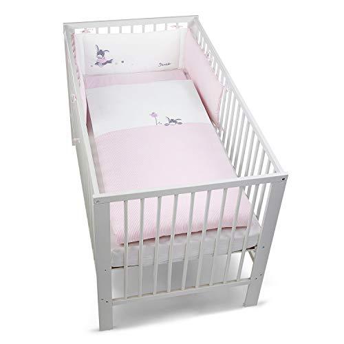 Sterntaler Bett-Set, Kopfkissen, Bettdecke und Bett-Nestchen, Esel Emmi Girl, Alter: Für Babys ab der Geburt, Rosa/Weiß