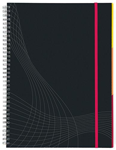 AVERY Zweckform 7023 Notizbuch notizio (A5, Hardcover, Doppelspirale, kariert, 90 g/m², 90 Seiten mikroperforiert, Notizblock mit Verschlussband, Registern und Dokumententasche) dunkelgrau