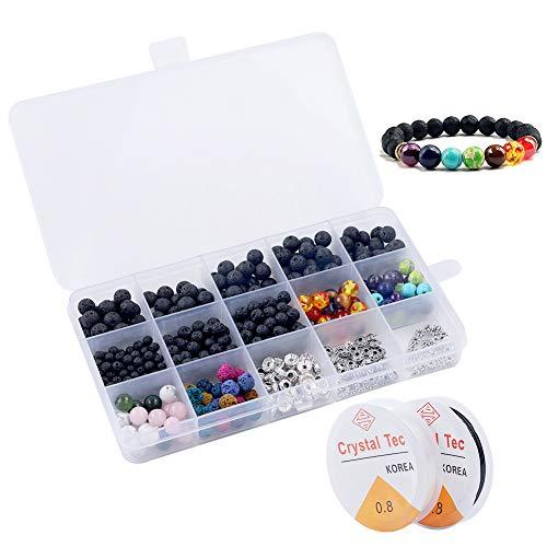 Lava Perlen, 500 Stück Lavastein Perlen Set, DIY Perlen Set für Armbänder Halsketten, Lavastein Perlen mit 2 Rollen Elastischer Kristall String, Steinperlen für DIY Freundschaft Armbänder