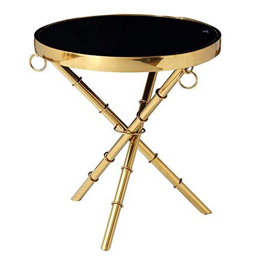 Carl Artbay Home&Selected meubels/Zwart Gehard Glas Bijzettafel Mini Kleine Ronde Tafel Goud RVS Koffietafel voor Woonkamer Balkon,19.6
