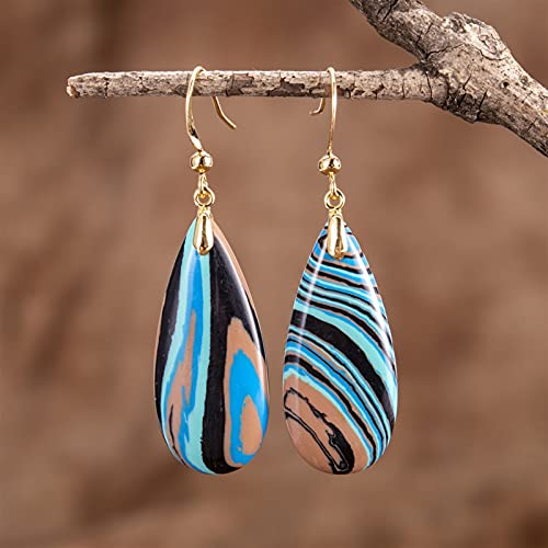 JKLJKL 1 par de Piedra Natural de Piedra Azul Gota colgada Piedras garabatos Pendientes (Metal Color : Gold)
