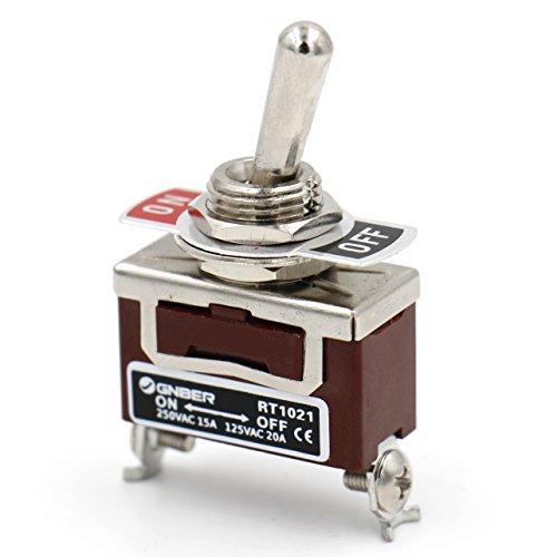 Heschen Interrupteur à bascule en métal SPST maintenu ON/OFF 2 positions 15 A 250 V AC CE
