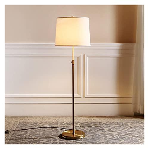 CHENGCHAO lámpara de Piso Lámpara de Piso de Suelo de latón Lámpara de Piso de Gama Alta de latón Real Sombra Blanca E27 Lámpara de Piso Ajustable Iluminación Grande iluminación