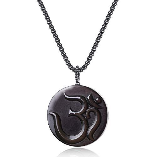 COAI OM Black Obsidian Stone Prayer Pendant Necklace for Men Women 32'