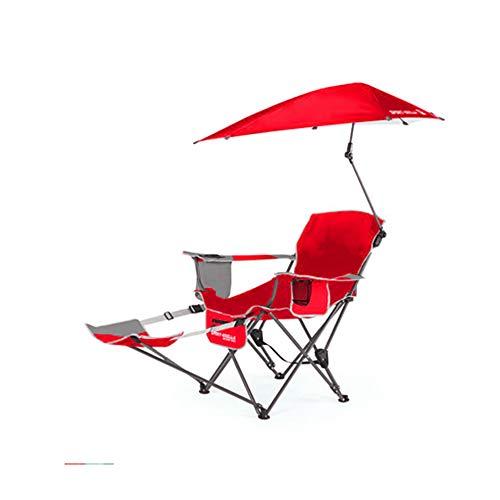 HYRL Chaise inclinable, Sport Portable Sun Shelter météo Parapluie Fauteuil inclinable Chaise Pliante, Chaise Pliante extérieur Fauteuil de pêche Chaise de Plage,Red