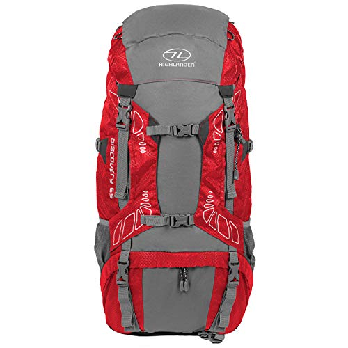 """65 Liter Discovery Rucksack von Highlander - Leichter Wanderrucksack mit wasserdichter Hülle - Ideal zum Wandern, Reisen, Trekking, Camping und """"D of E"""" - Rot"""