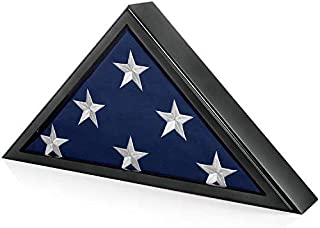 SmartChoice Honors Memorial Flag Display Case for Burial and Presentation Flags, American and Foreign Military Service Commemoration, 5x9 Feet (Black)