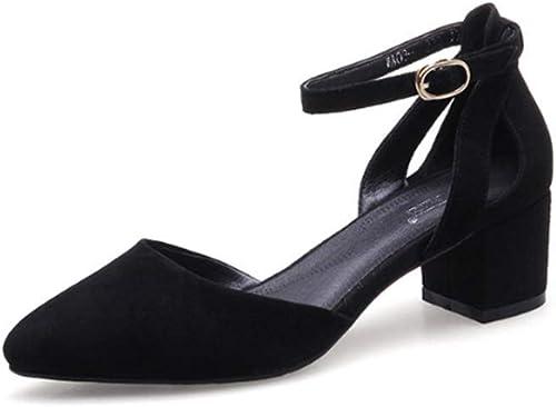 AJUNR Femmes Loisirs Les Femmes Au Printemps Nouveau Style Un Mot Bouton 5 Cm des Chaussures à Talons Haut Loisirs