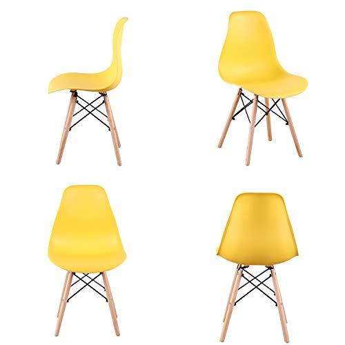 Silla ergonómica escandinava de comedor con patas de material de madera para cocina, comedor, sala de estar, muebles del hogar, juego de 4 (amarillo)