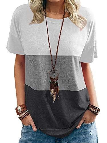 Camisa Mujer Básico Cuello Redondo Empalme Contraste De Color Mujer Top Generoso Casual Temperamento Clásico Personalidad De Moda Respirable Exquisito Único Verano Mujer Blusa E-White Grey L