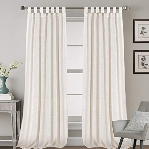 2 Pack Ultra Luxurious High Woven Linen Elegant Curtain Panels Light Reducing Privacy Panels Drapes, Tab Top Curtain Set, Extra Long 52x108-Inch, Natural