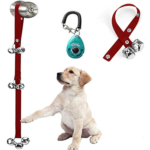 Upgraded Puppy Bells for Door-Hanging Bells for Door Knob-Dog Bells for Potty Training-Bells for Dogs to Ring to Go Outside-Jingle Bells Doorbells for Puppy Dogs Doggy Doggie Pooch Pet Cat-3 Snaps
