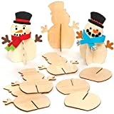 Baker Ross AT158 3D Schneemann aus Holz (6 Stück) Bastelset für Kinder zu Weihnachten, Sortiert
