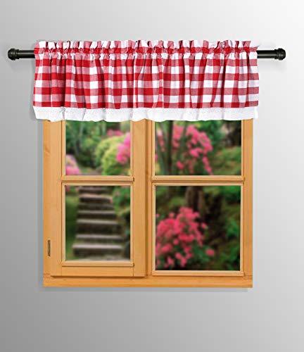 Cenefa de ventana para dormitorio con bolsillo para barra de 5 cm, cenefa de algodón para cocina de granja, cenefa extra ancha con...