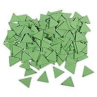 oshhni 10個のシンプルな幾何学的形状の木製ペンダントDIYイヤリングチャームアクセサリー - 緑19mm